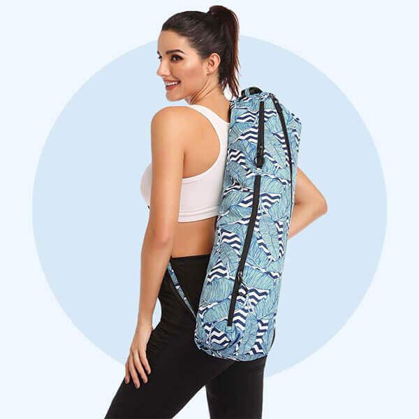 lulu yoga mat carrying sports bag on shoulder